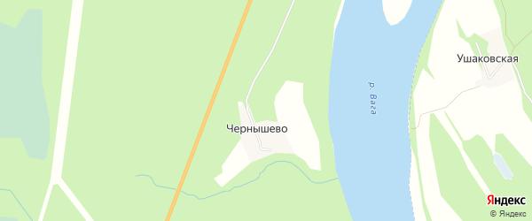 Карта деревни Чернышево в Архангельской области с улицами и номерами домов
