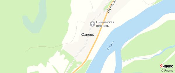Карта деревни Юхнево в Архангельской области с улицами и номерами домов