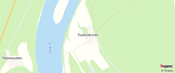 Карта Ушаковской деревни в Архангельской области с улицами и номерами домов