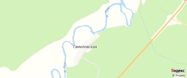 Карта Гамиловской деревни в Архангельской области с улицами и номерами домов