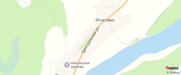 Карта деревни Игнатовки в Архангельской области с улицами и номерами домов