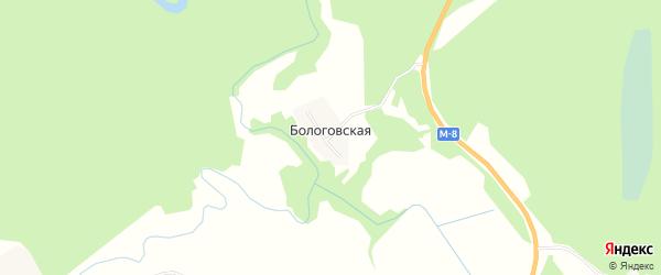 Карта Бологовской деревни в Архангельской области с улицами и номерами домов