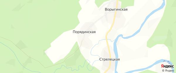 Карта Порядинской деревни в Архангельской области с улицами и номерами домов