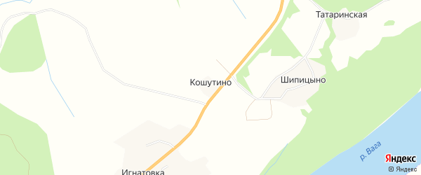 Карта деревни Кошутино в Архангельской области с улицами и номерами домов