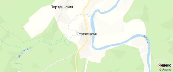 Карта Стрелецкой деревни в Архангельской области с улицами и номерами домов