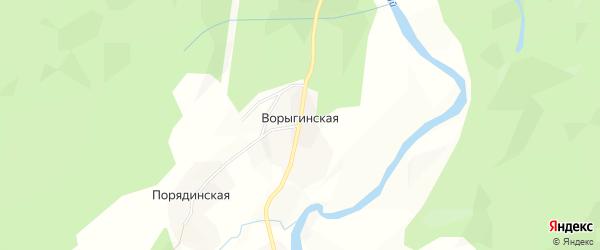 Карта Ворыгинской деревни в Архангельской области с улицами и номерами домов