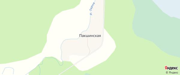 Карта Пакшинской деревни в Архангельской области с улицами и номерами домов