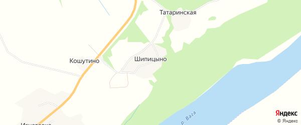 Карта деревни Шипицыно в Архангельской области с улицами и номерами домов