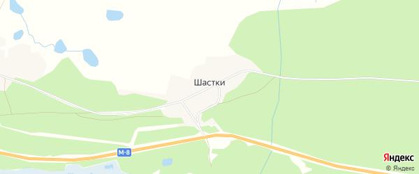 Карта деревни Шастки в Архангельской области с улицами и номерами домов
