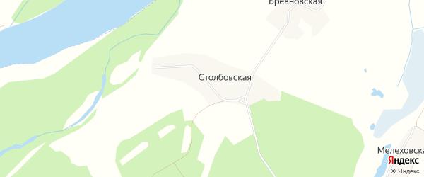 Карта Столбовской деревни в Архангельской области с улицами и номерами домов