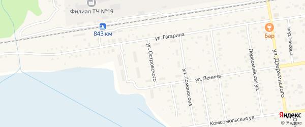 Улица Островского на карте Кулоя поселка с номерами домов