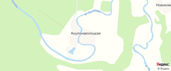 Карта Акулонаволоцкой деревни в Архангельской области с улицами и номерами домов