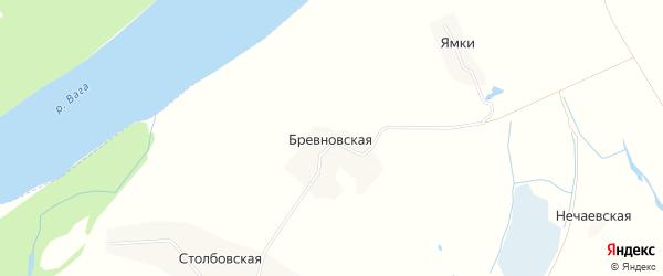 Карта Бревновской деревни в Архангельской области с улицами и номерами домов