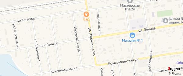 Улица Дзержинского на карте Кулоя поселка с номерами домов