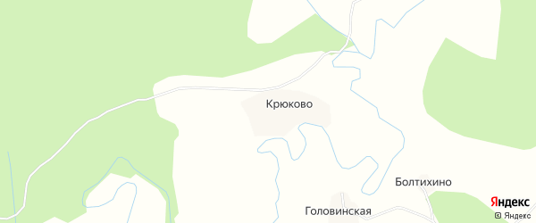 Карта деревни Крюково в Архангельской области с улицами и номерами домов