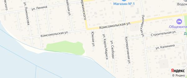 Южная улица на карте Кулоя поселка с номерами домов