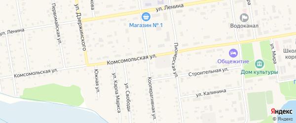 Кооперативная улица на карте Кулоя поселка с номерами домов