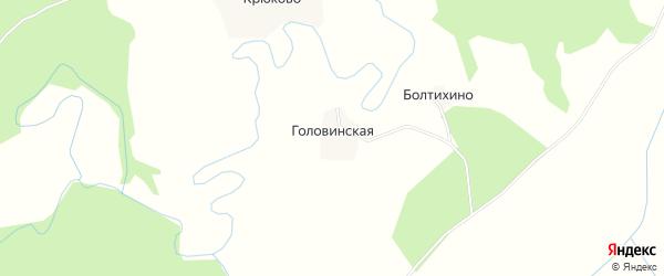 Карта Головинской деревни в Архангельской области с улицами и номерами домов