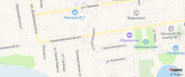 Пионерская улица на карте Кулоя поселка с номерами домов