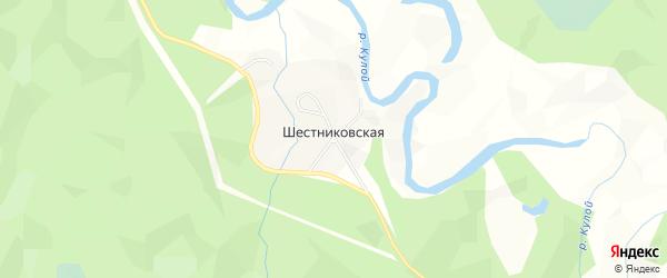 Карта Шестниковской деревни в Архангельской области с улицами и номерами домов