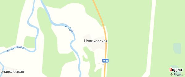 Карта Новиковской деревни в Архангельской области с улицами и номерами домов
