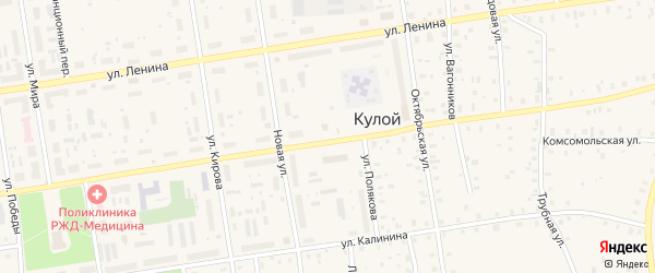 Зеленая улица на карте Кулоя поселка с номерами домов