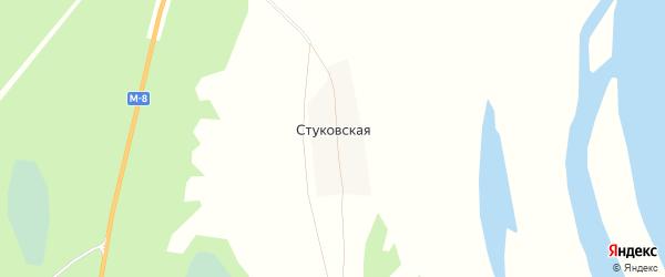 Карта Стуковской деревни в Архангельской области с улицами и номерами домов