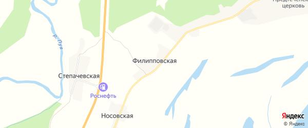 Карта Филипповской деревни в Архангельской области с улицами и номерами домов