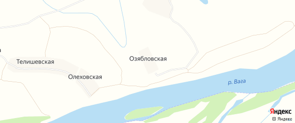 Карта Озябловской деревни в Архангельской области с улицами и номерами домов