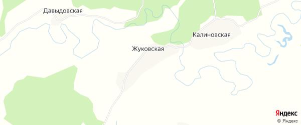 Карта Жуковской деревни в Архангельской области с улицами и номерами домов