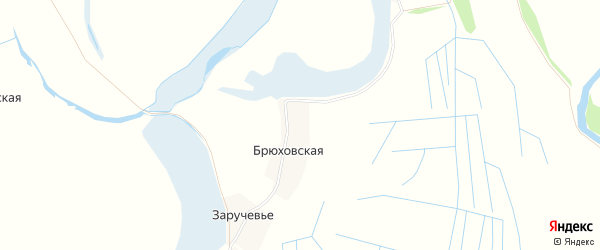 Карта Брюховской деревни в Архангельской области с улицами и номерами домов