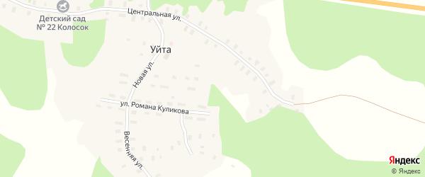 Весенняя улица на карте деревни Уйты с номерами домов