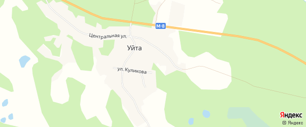 Карта деревни Уйты в Архангельской области с улицами и номерами домов