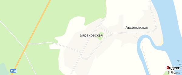 Карта Барановской деревни в Архангельской области с улицами и номерами домов