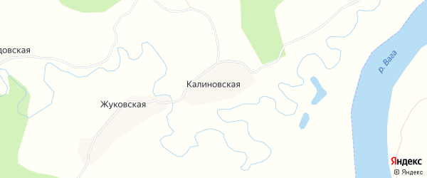Карта Калиновской деревни в Архангельской области с улицами и номерами домов