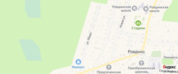 Улица Мира на карте села Ровдино с номерами домов