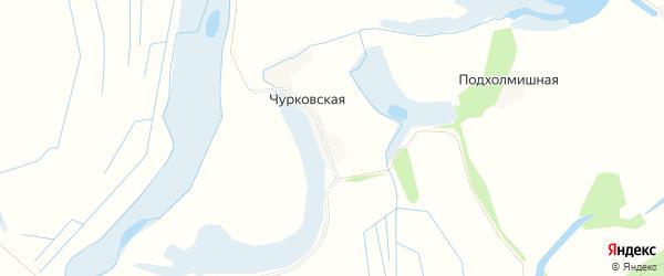 Карта Чурковской деревни в Архангельской области с улицами и номерами домов