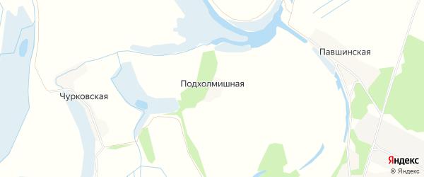 Карта Подхолмишной деревни в Архангельской области с улицами и номерами домов