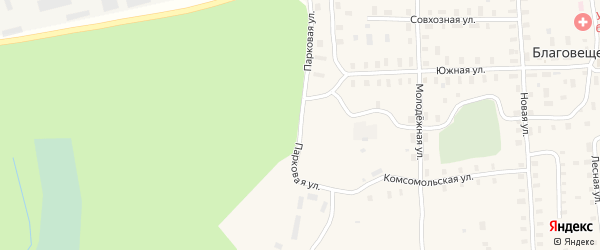 Парковая улица на карте Благовещенского села с номерами домов