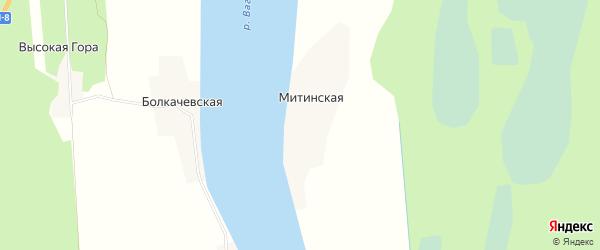 Карта Митинской деревни в Архангельской области с улицами и номерами домов