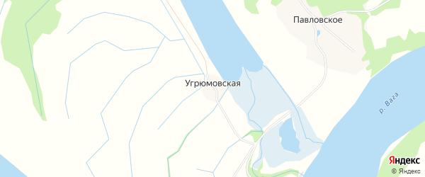 Карта Угрюмовской деревни в Архангельской области с улицами и номерами домов