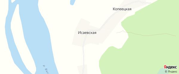 Карта Исаевской деревни в Архангельской области с улицами и номерами домов