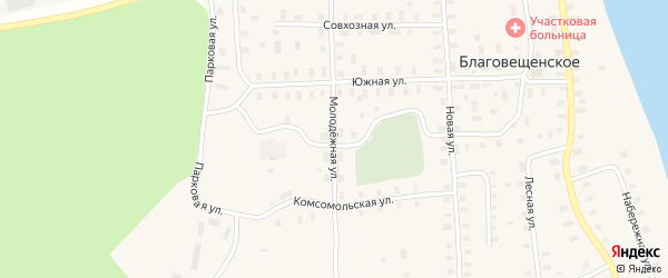 Молодежная улица на карте Благовещенского села с номерами домов