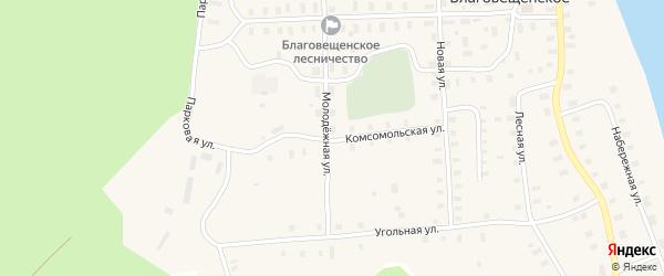 Комсомольская улица на карте Благовещенского села с номерами домов