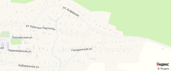 Улица Красных Партизан на карте села Ровдино с номерами домов