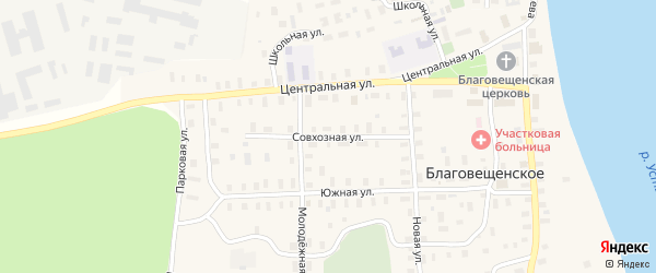 Совхозная улица на карте Благовещенского села с номерами домов