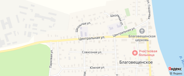 Центральная улица на карте Благовещенского села с номерами домов