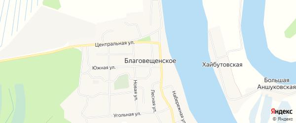 Карта Благовещенского села в Архангельской области с улицами и номерами домов