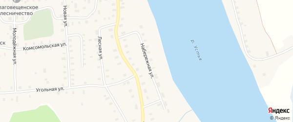 Набережная улица на карте Благовещенского села с номерами домов