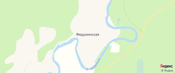 Карта Федунинской деревни в Архангельской области с улицами и номерами домов